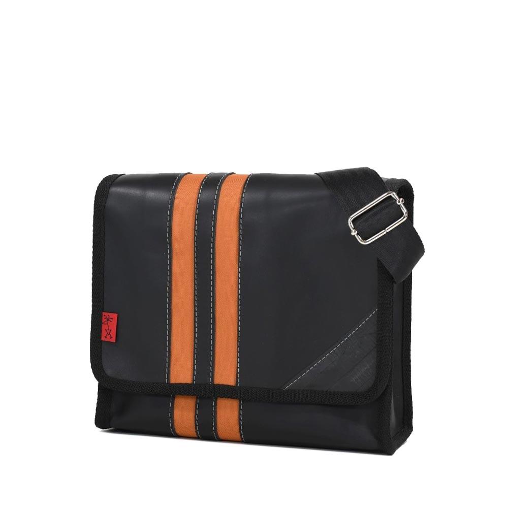Umhängetasche Radlerengel Small - Leder schwarz/orange