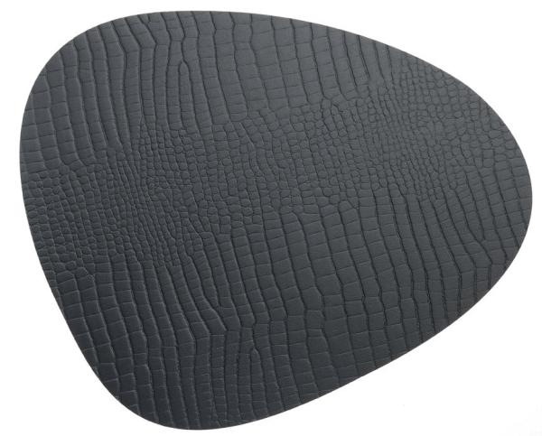 Lederteppich floorMAT in schwarzer Croco-Musterung